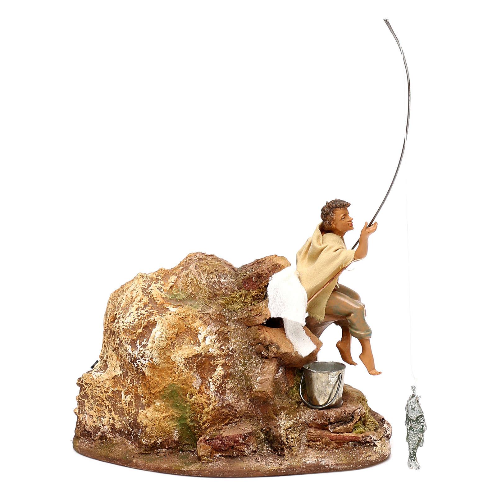 Pescatore Fontanini movimento presepe 10 cm doppia canna pesca estraibile 3