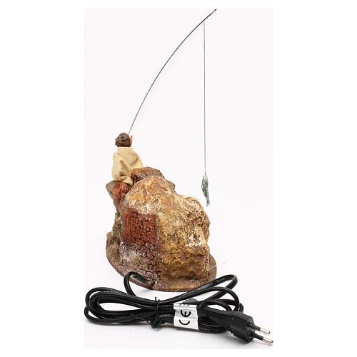 Pescatore Fontanini movimento presepe 10 cm doppia canna pesca estraibile 4