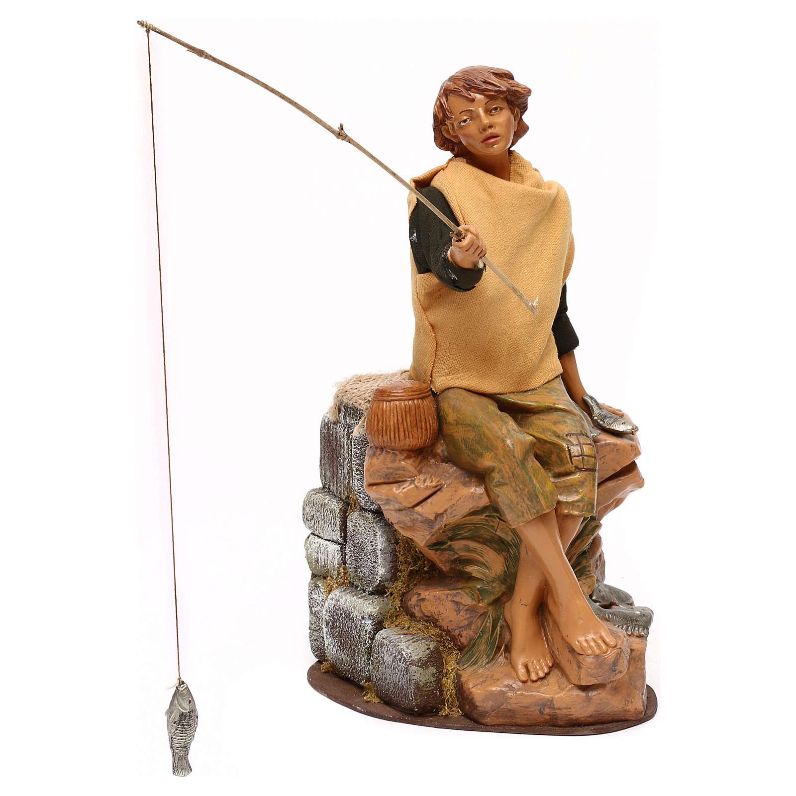 Jeune pêcheur Fontanini mouvement crèche 30 cm canne à pêche amovible 3