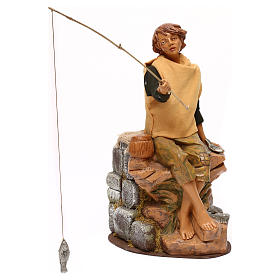 Jeune pêcheur Fontanini mouvement crèche 30 cm canne à pêche amovible s1