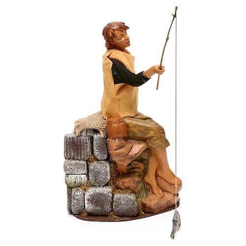 Jeune pêcheur Fontanini mouvement crèche 30 cm canne à pêche amovible 2