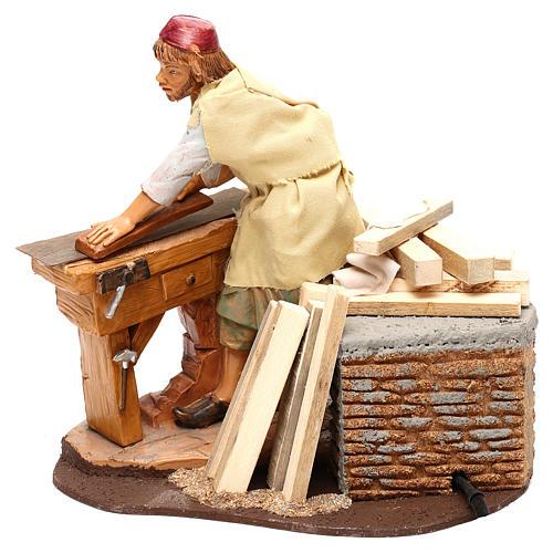 Falegname Fontanini con pialla e movimento per presepe 19 cm 3