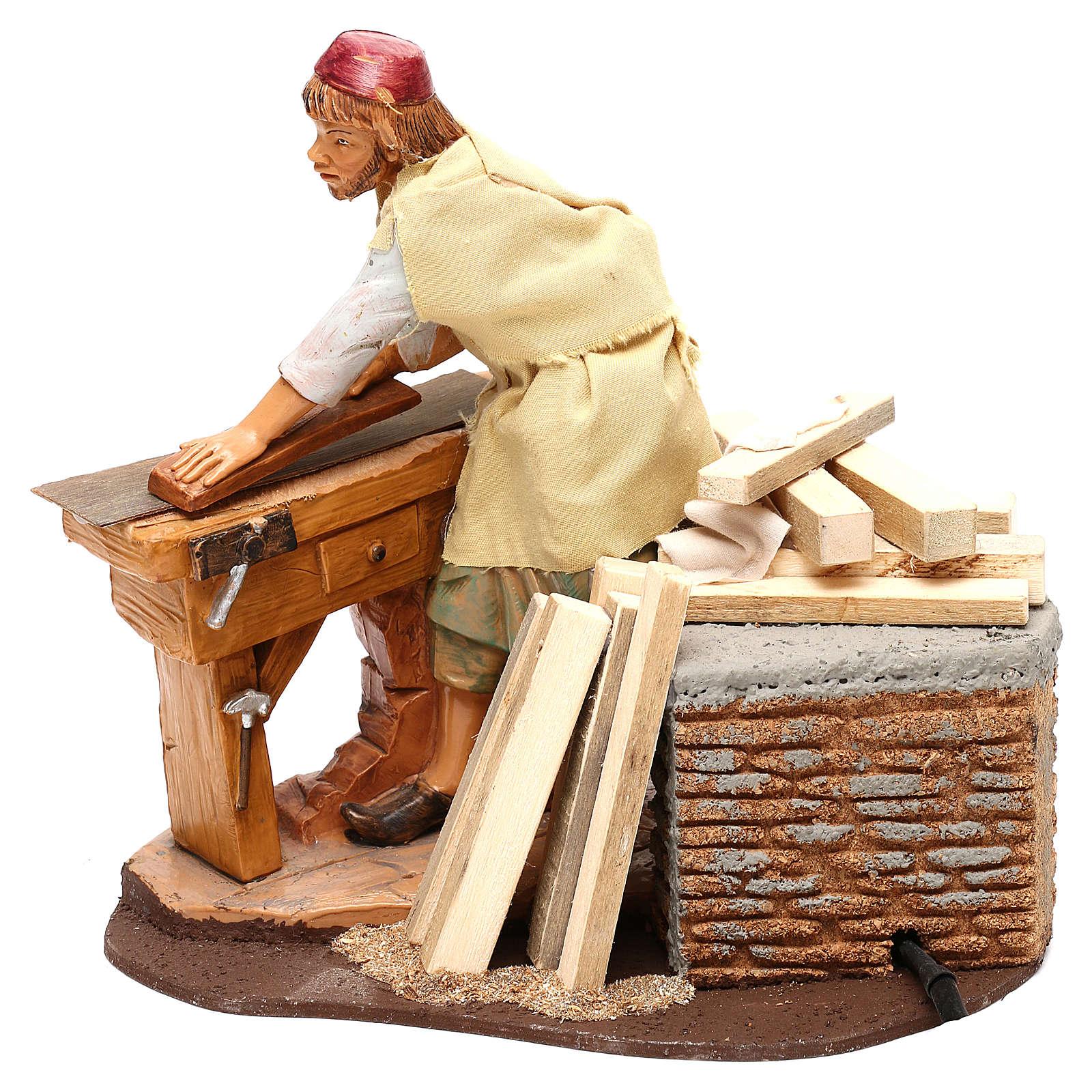 Carpenter with planer and movement, Fontanini 19 cm nativity 3