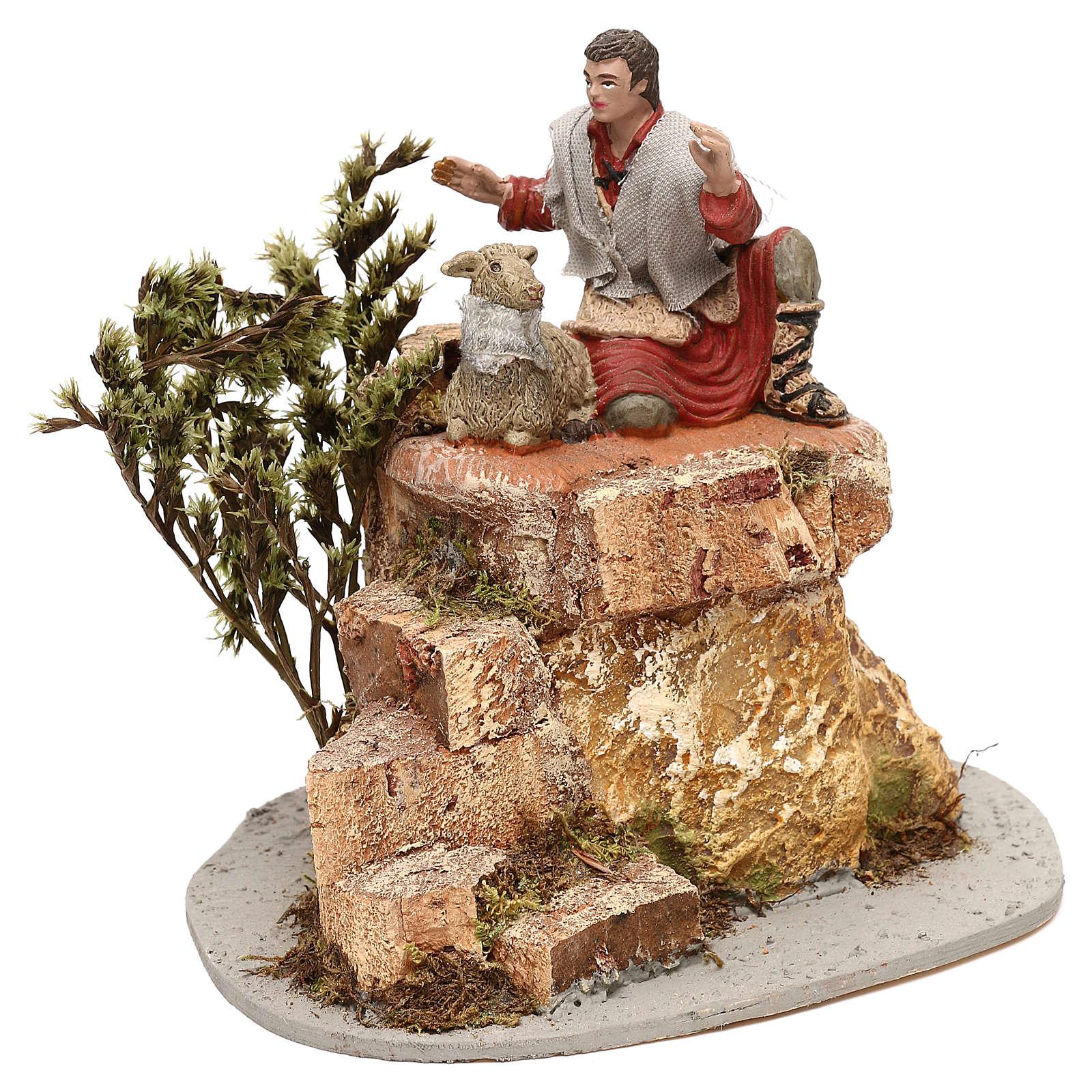 Pastore Oliver con pecorelle movimento per presepe 10 cm 3