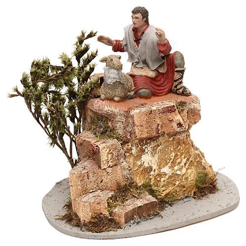 Pastore Oliver con pecorelle movimento per presepe 10 cm 1
