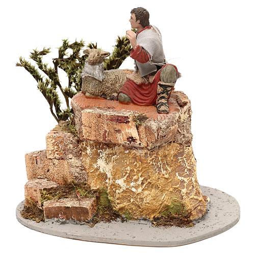 Pastore Oliver con pecorelle movimento per presepe 10 cm 2