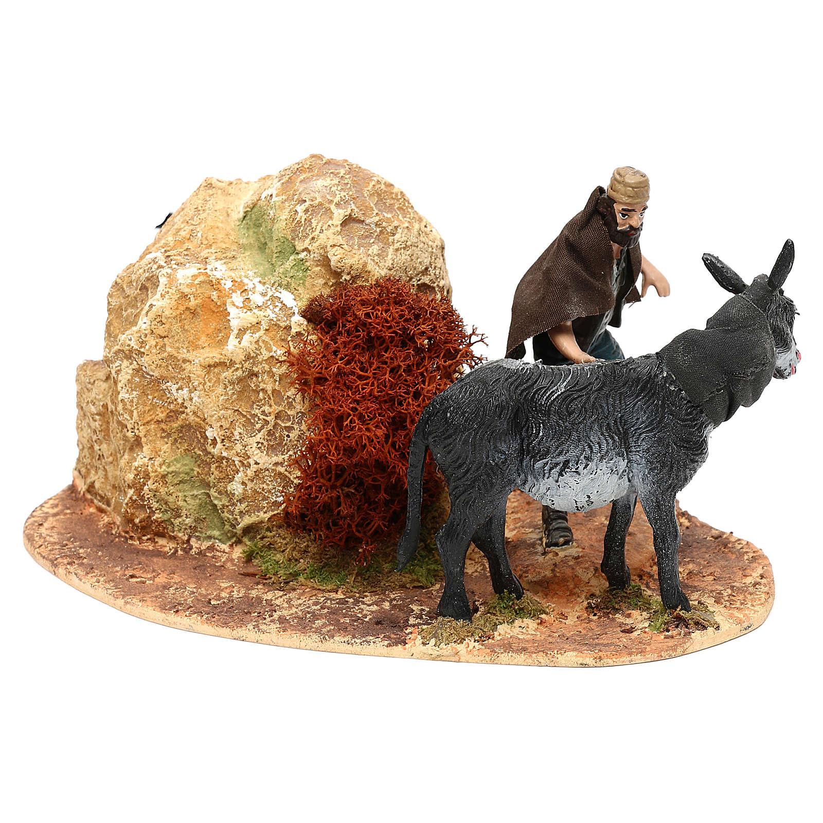 Hombre y burro Oliver con movimiento para belén 10 cm 3