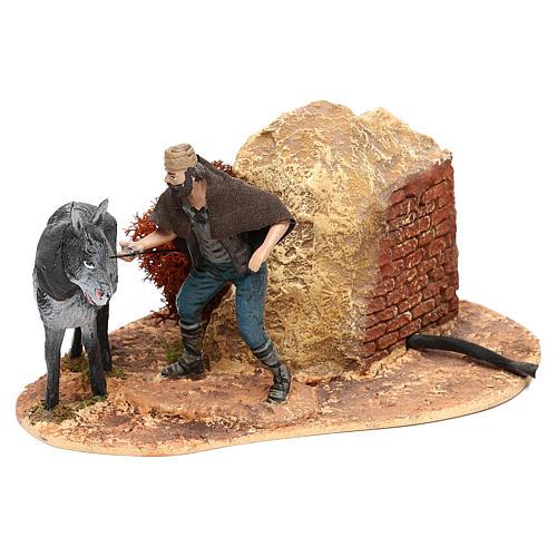 Hombre y burro Oliver con movimiento para belén 10 cm 2