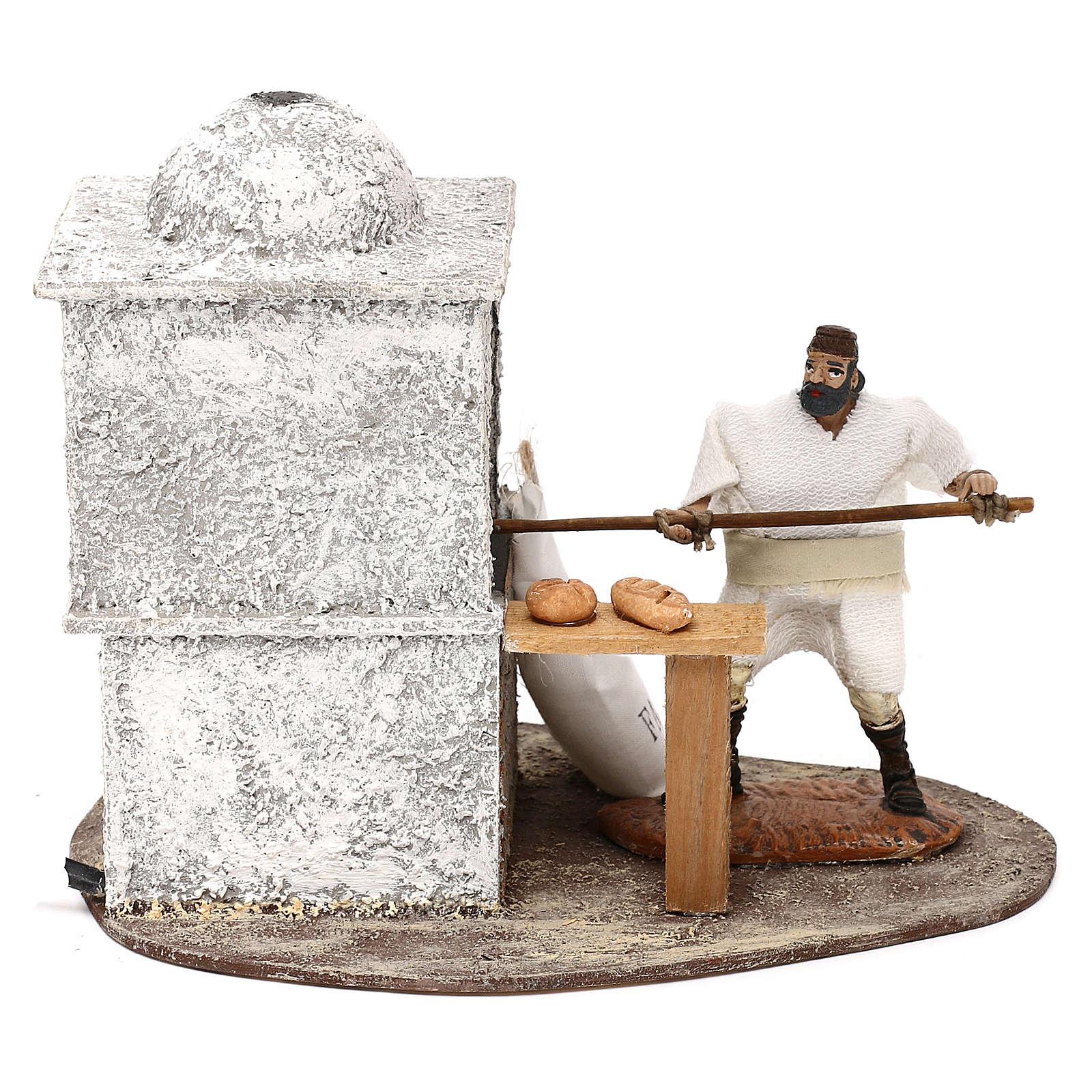 Fornaio Oliver con movimento e forno per presepi di 10 cm 3