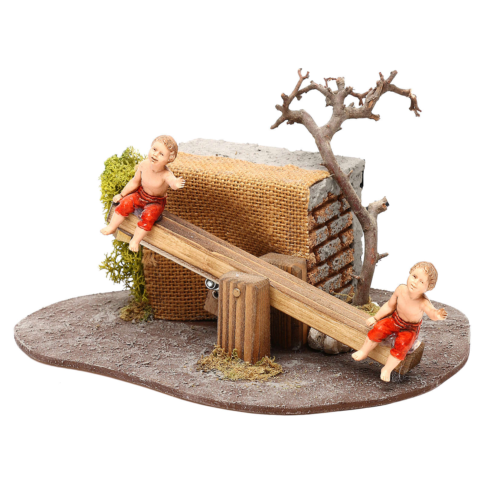 Bambini Oliver su altalena con movimento per presepi di 10 cm 3
