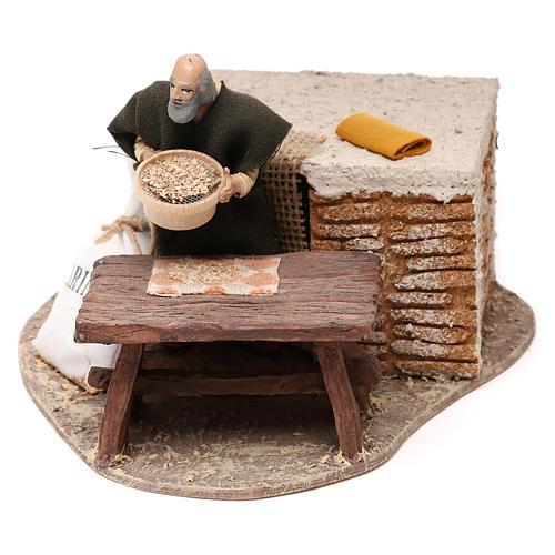 Uomo che setaccia la farina Oliver con movimento presepe 10 cm 1