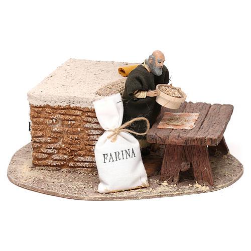 Uomo che setaccia la farina Oliver con movimento presepe 10 cm 3