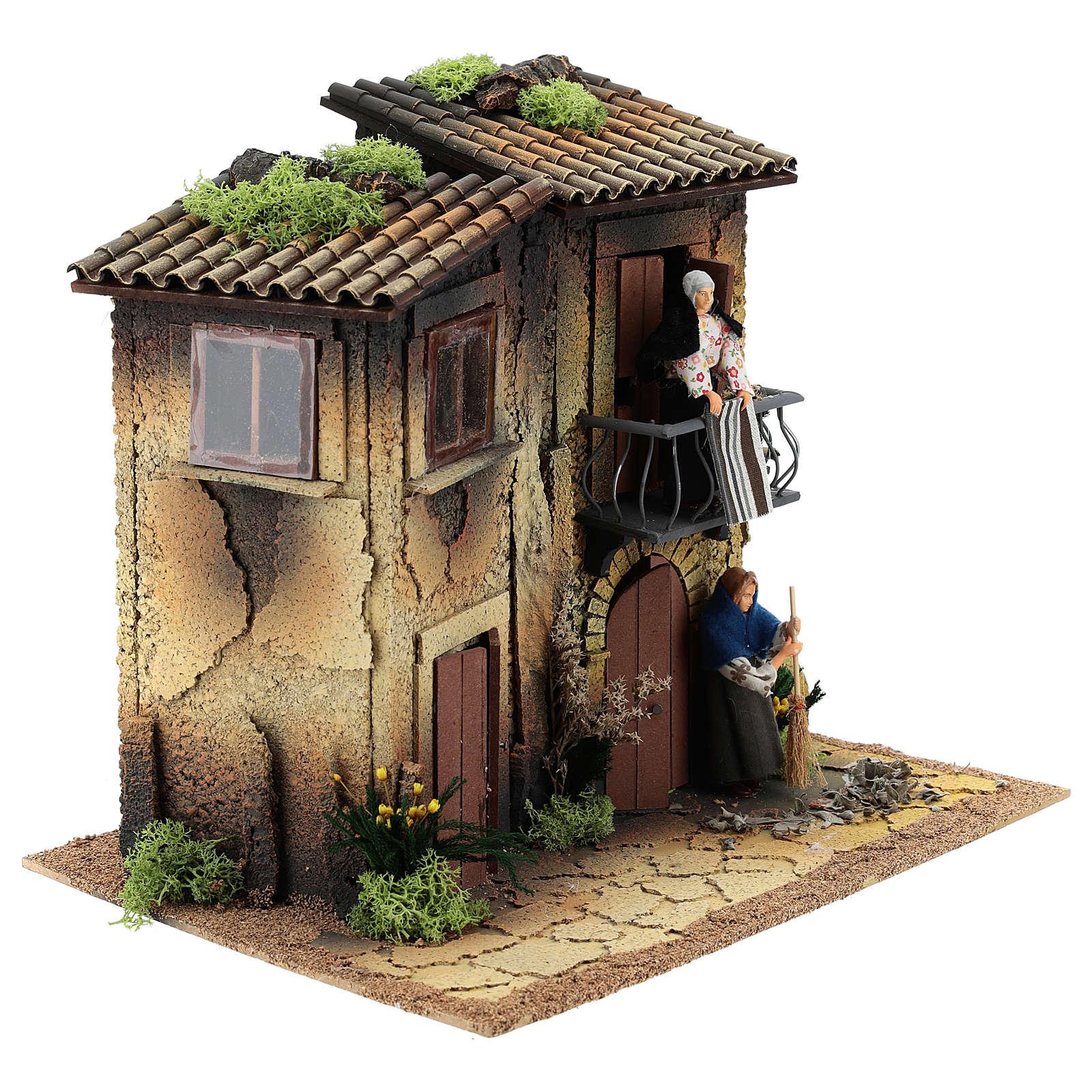 Village avec deux femmes en mouvement 35x40x30 cm crèche 12 cm 3