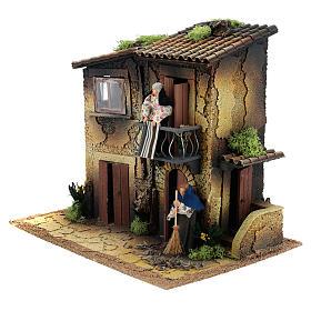 Village avec deux femmes en mouvement 35x40x30 cm crèche 12 cm s2