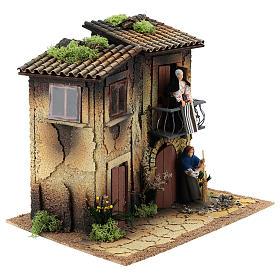 Village avec deux femmes en mouvement 35x40x30 cm crèche 12 cm s3