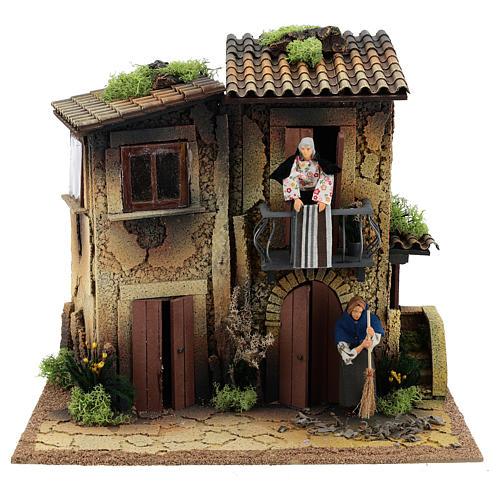 Village avec deux femmes en mouvement 35x40x30 cm crèche 12 cm 1