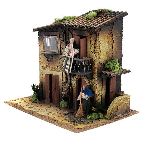 Village avec deux femmes en mouvement 35x40x30 cm crèche 12 cm 2