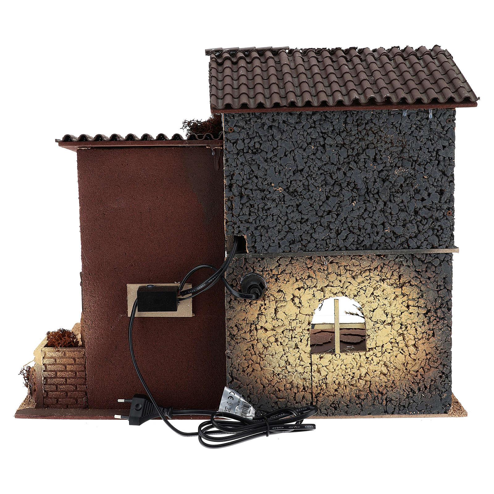 Casa con donna che apre finestra 45x50x30 cm movimento presepe 12 cm 3