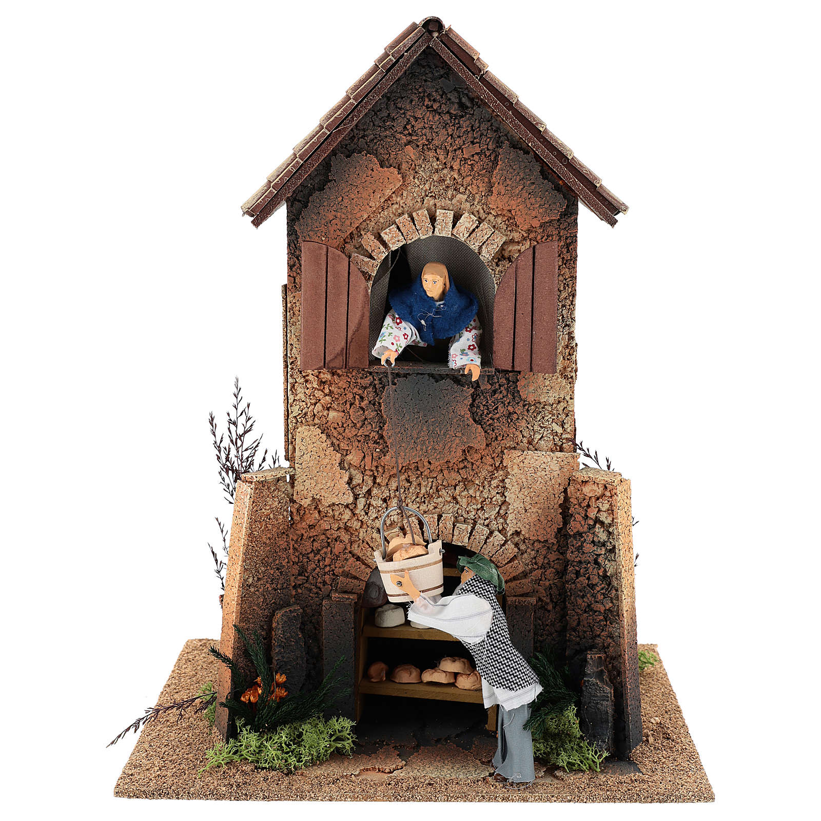 House with woman lowering the basket from the window 40x30x20 cm for Nativity Scene 12 cm 3