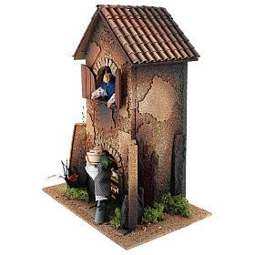 Maison femme qui descend un panier par la fenêtre 40x30x20 cm mouvement crèche 12 cm s2
