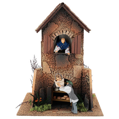Maison femme qui descend un panier par la fenêtre 40x30x20 cm mouvement crèche 12 cm 1