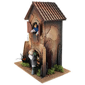 House with woman window basket 40x30x20 cm, moving nativity 12 cm s2