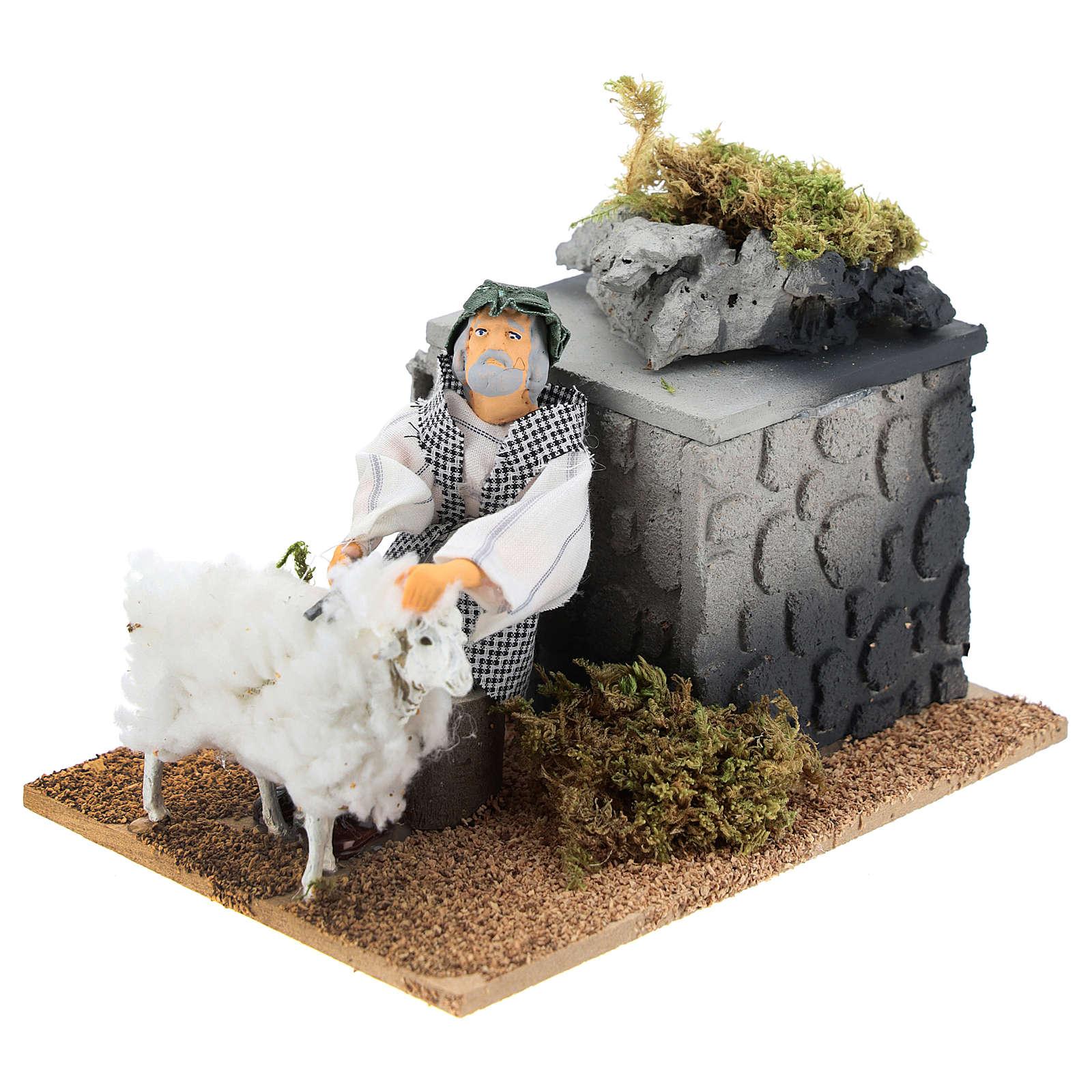 Tendeur moutons avec mouvement 10x15x10 cm crèche 12 cm 3
