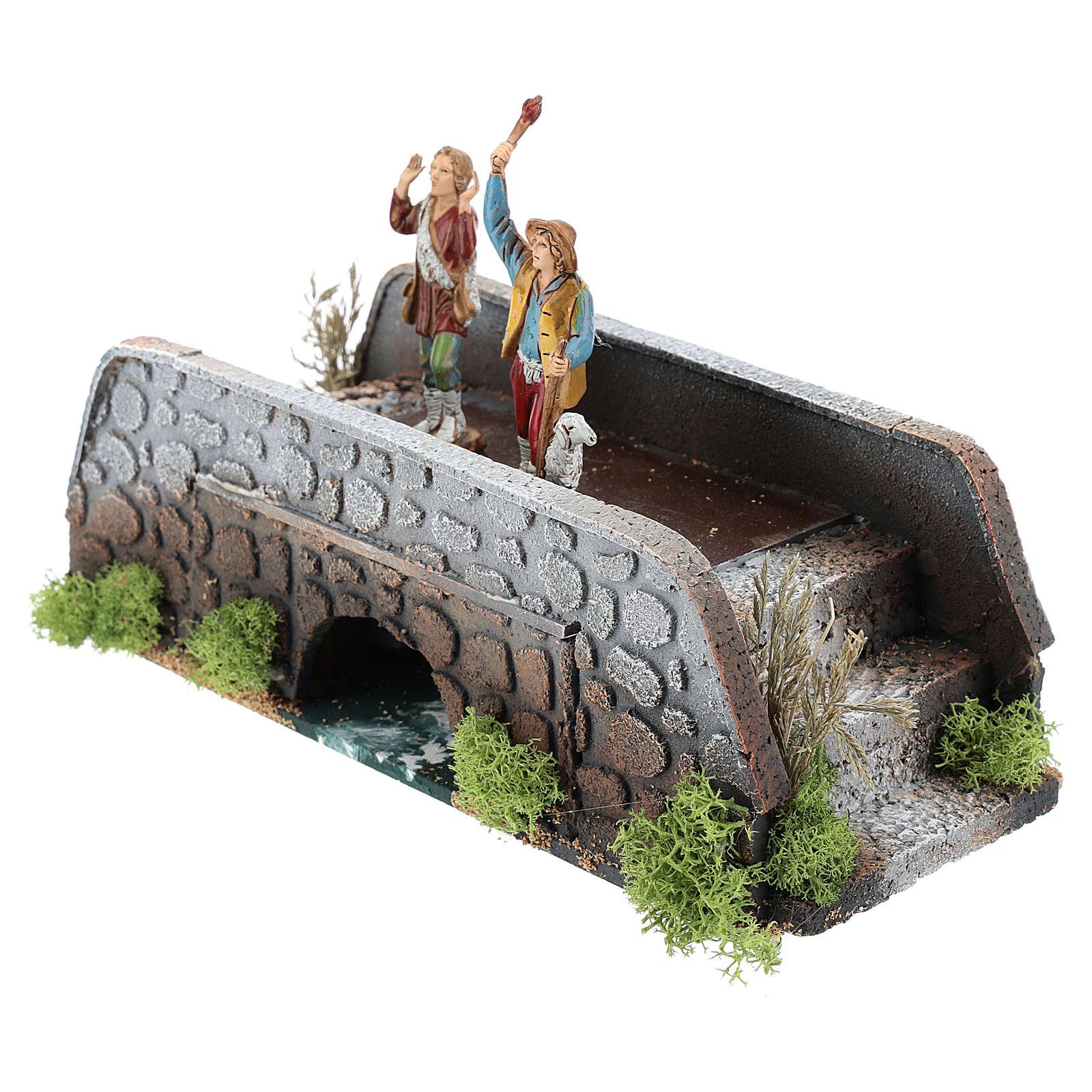 Moving shepherds on bridge of 10x25x10 cm, 12 cm nativity 3