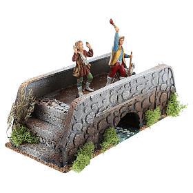Moving shepherds on bridge of 10x25x10 cm, 12 cm nativity s3
