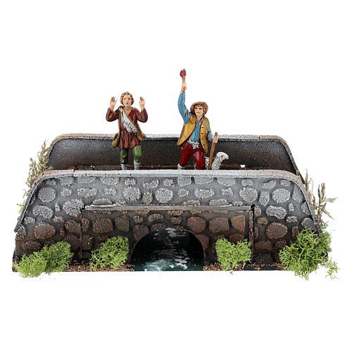 Moving shepherds on bridge of 10x25x10 cm, 12 cm nativity 1