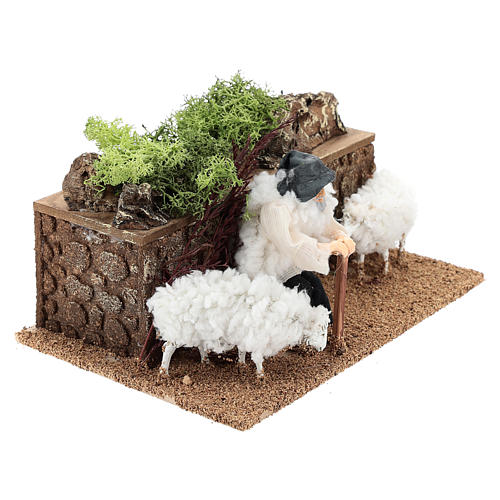 Shepherd with moving sheep 10 cm 3
