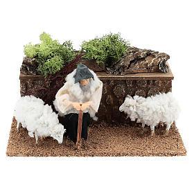Berger avec moutons en mouvement 10 cm crèche s1