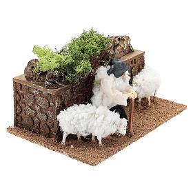 Berger avec moutons en mouvement 10 cm crèche s3