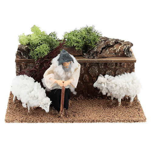Berger avec moutons en mouvement 10 cm crèche 1