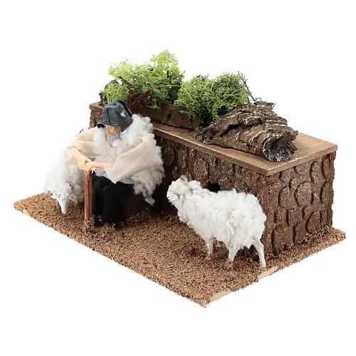 Berger avec moutons en mouvement 10 cm crèche 2
