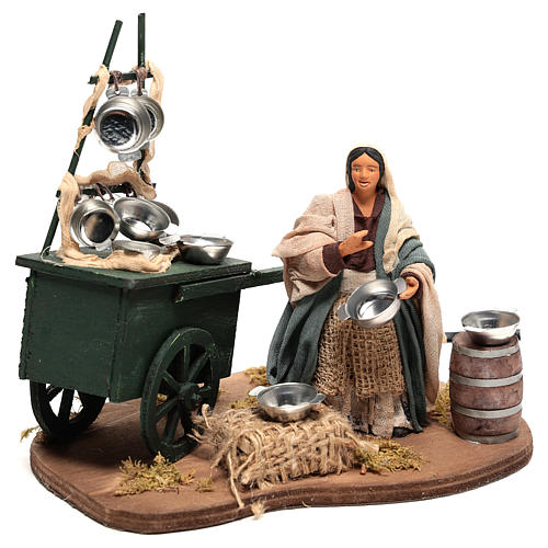 Animated pot seller with cart 18x19x10 cm, for 10 cm Neapolitan nativity 3