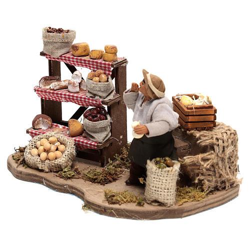 Venditore di formaggi movimento di 10x20x10 cm per presepe Napoli di 10 cm  2