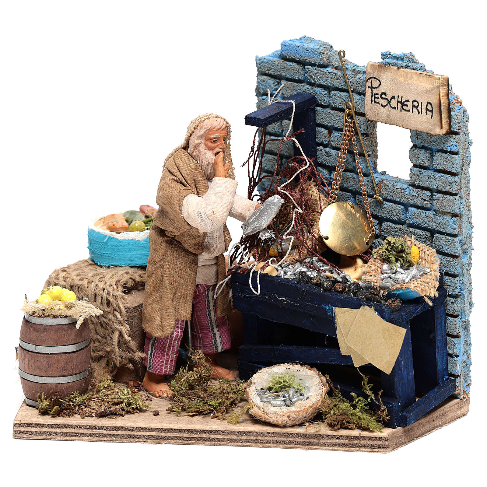 Animated Fishmonger with stand 15x15x10 cm, for 12 cm Neapolitan nativity 4