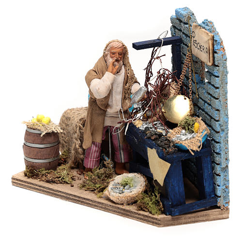 Animated Fishmonger with stand 15x15x10 cm, for 12 cm Neapolitan nativity 2