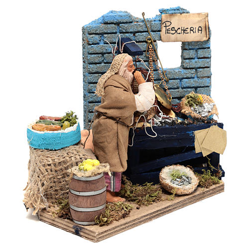 Animated Fishmonger with stand 15x15x10 cm, for 12 cm Neapolitan nativity 3