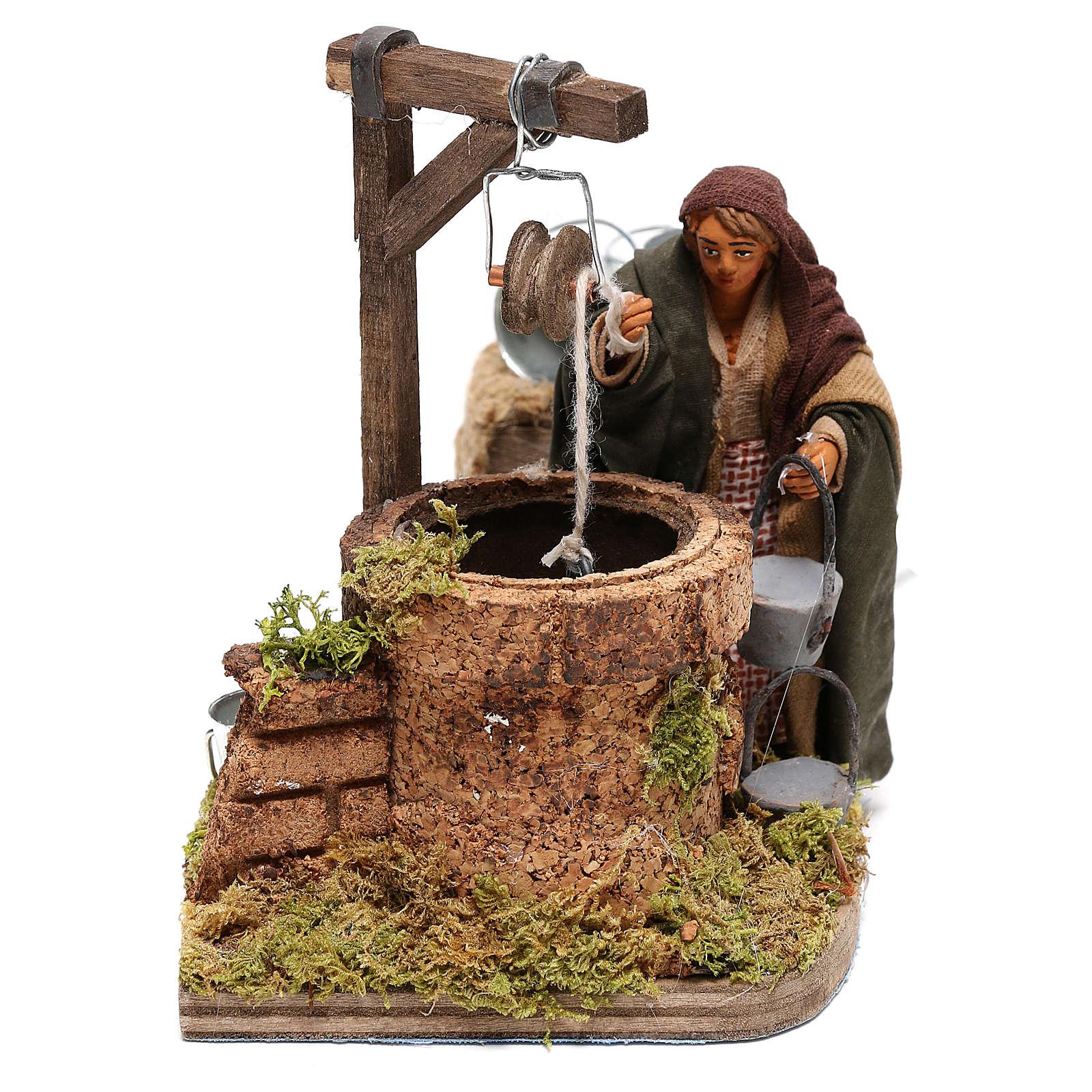 Femme au puits mouvement 10x10x15 cm pour crèche napolitaine 10 cm 4