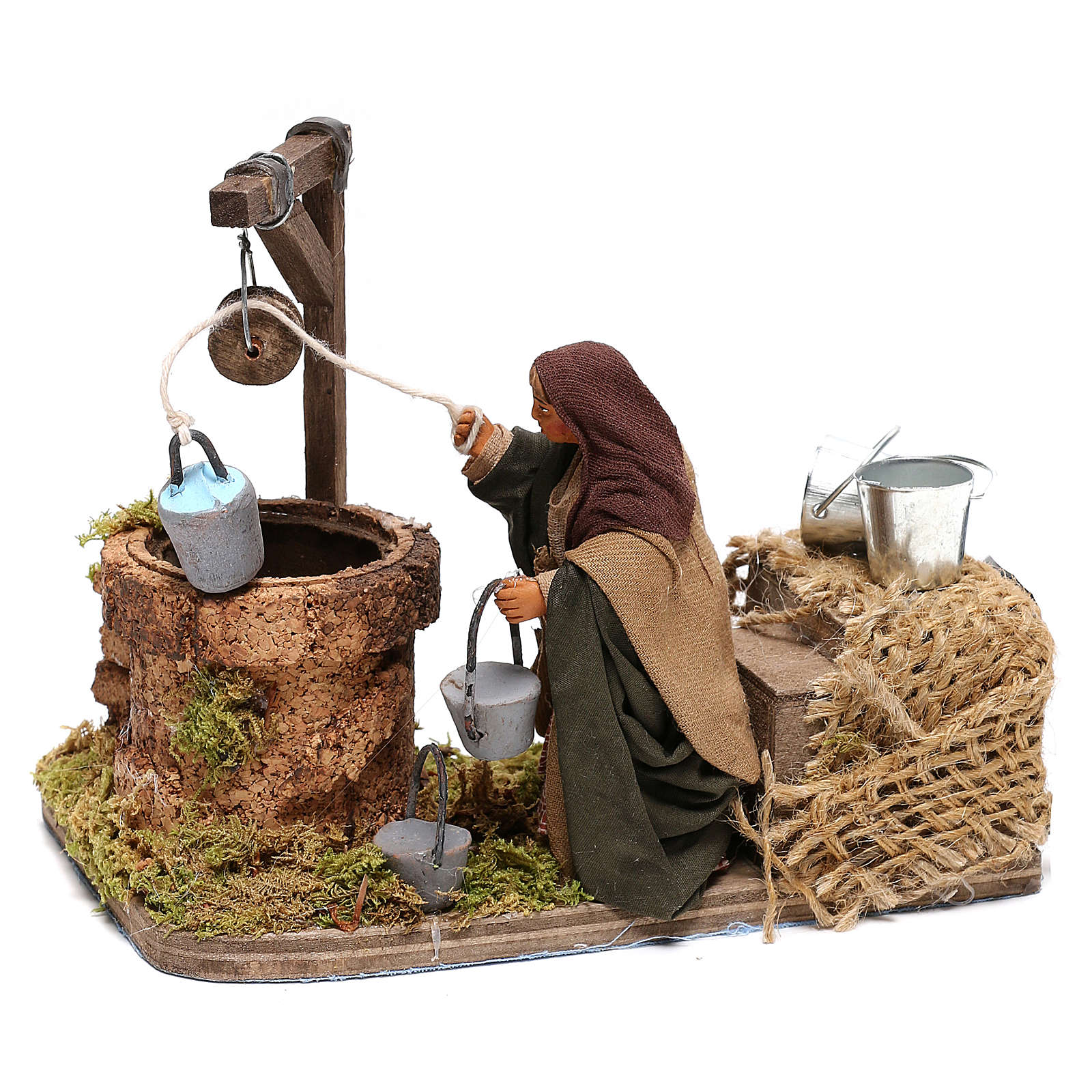 Woman at the water well moving, 10x10x15 cm, for 10 cm Neapolitan nativity 4