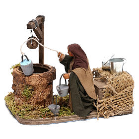 Woman at the water well moving, 10x10x15 cm, for 10 cm Neapolitan nativity s2
