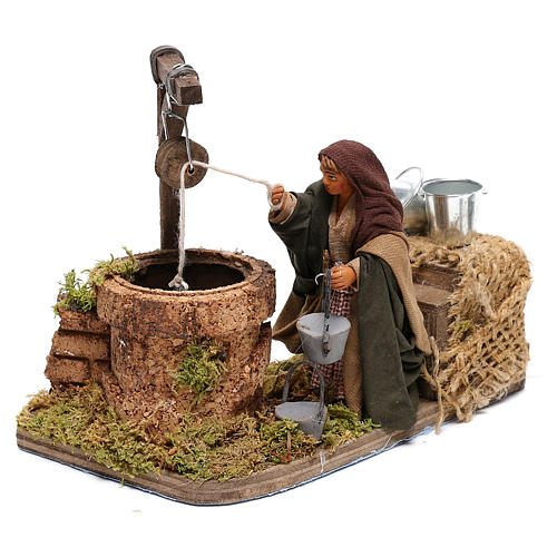 Woman at the water well moving, 10x10x15 cm, for 10 cm Neapolitan nativity 3