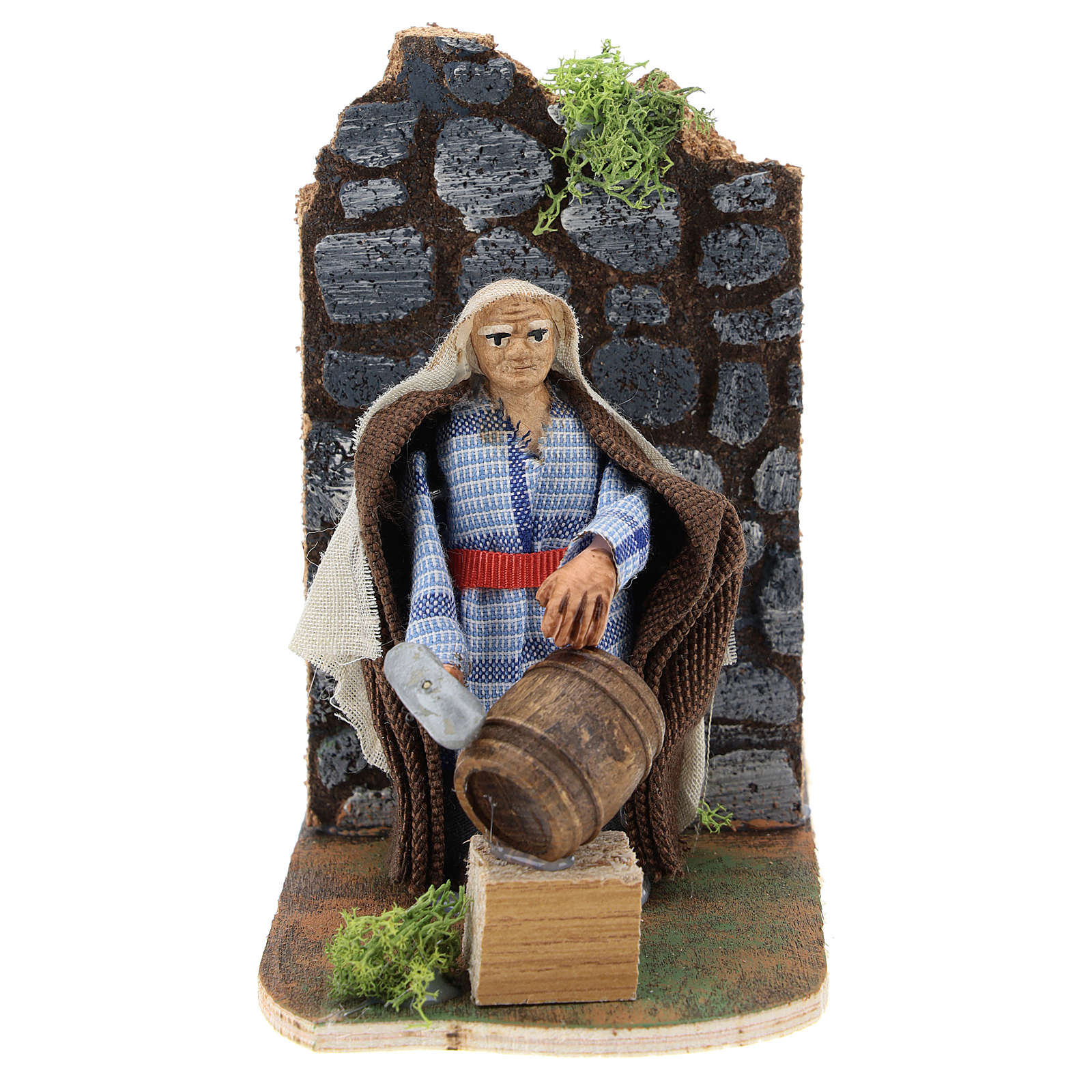 Man repairing casks, 7 cm animated Neapolitan nativity 4