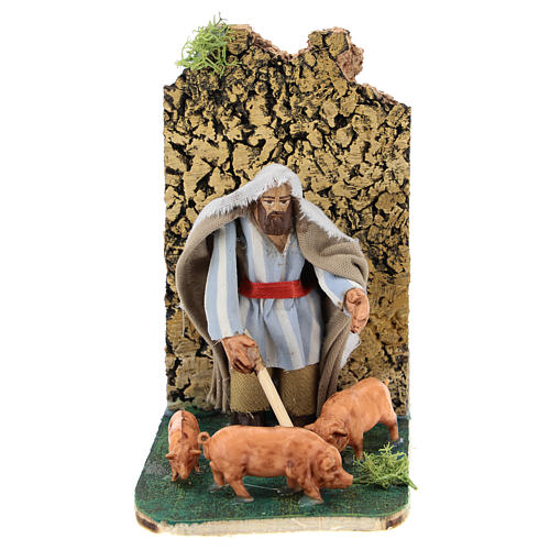 Moving pig breeder for Neapolitan Nativity Scene 7 cm 1