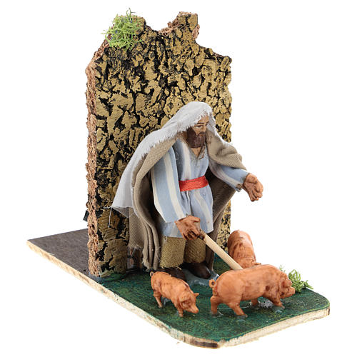 Moving pig breeder for Neapolitan Nativity Scene 7 cm 3