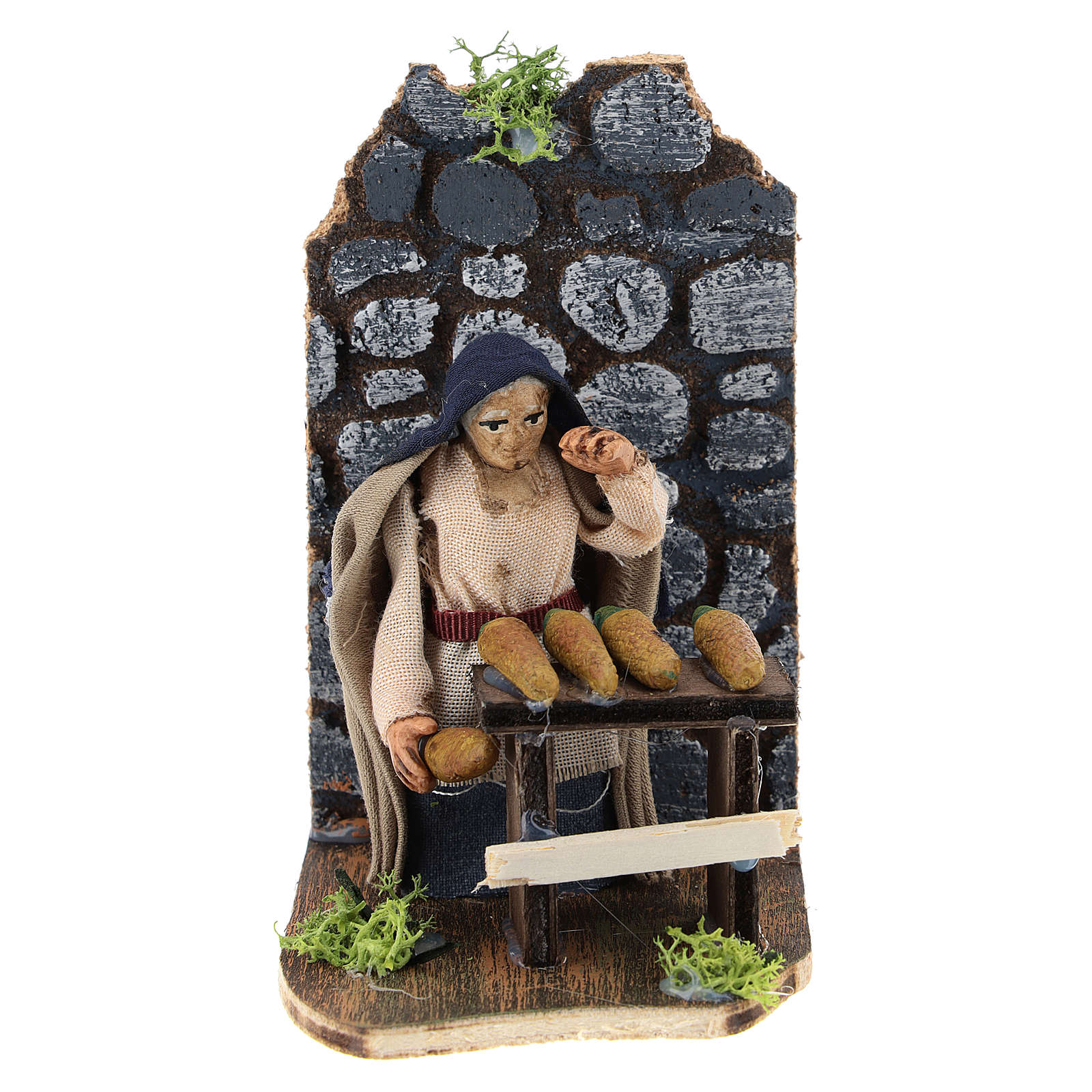 Moving corncob seller for Neapolitan Nativity Scene 7 cm 4