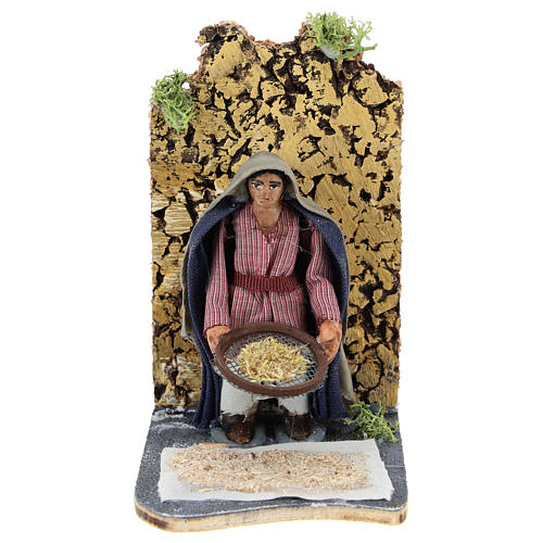Moving farmer with sifter for Neapolitan Nativity Scene 7 cm 1