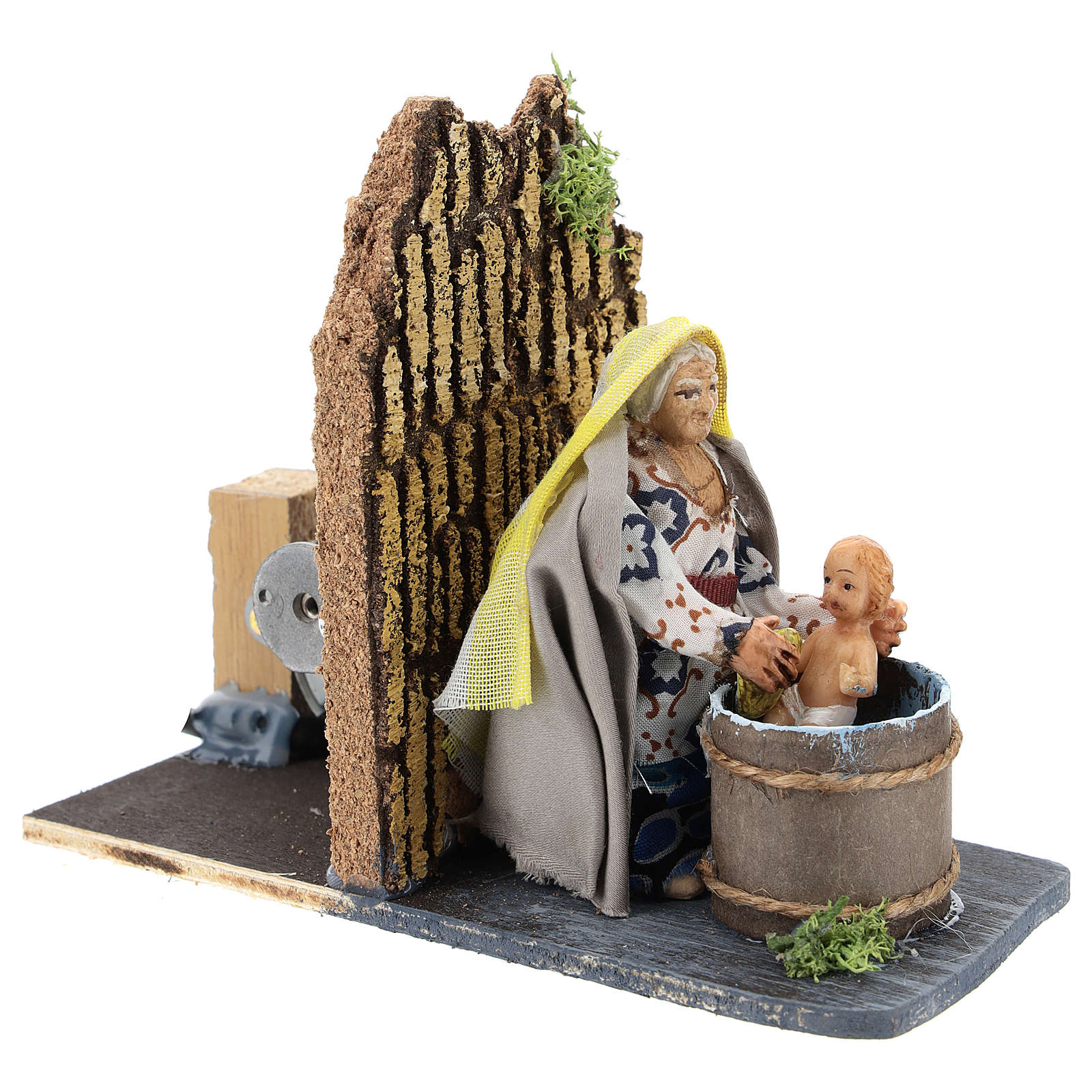 Moving woman washing baby for Neapolitan Nativity Scene 7 cm 4